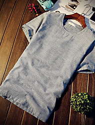 Men's Casual/Daily Simple Summer T-shirt,Solid Round Neck Short Sleeves Linen Thin