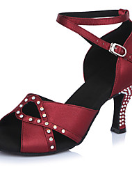 "Women's Latin Satin Sandals Heels Professional Buckle Crystals/Rhinestones Stiletto Heel Dark Red 2"" - 2 3/4"" Customizable"