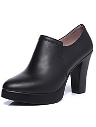 Women's Boot Bootie Spring Fall Real Leather Casual Office & Career Chunky Heel Black 3in-3 3/4in