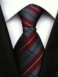 cheap -Men's Polyster Neck Tie,Neckwear Striped All Seasons Wine