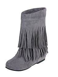 cheap -Women's Boots Fashion Boots Fall Winter Leatherette Casual Dress Tassel Wedge Heel Red Yellow Gray Beige Black 1in-1 3/4in