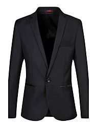Men's Plus Size Business Casual Slim Solid Color A Single Breasted Blazer Cotton Spandex