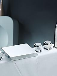 Недорогие -Современный Разбросанная Водопад Ручная лейка входит в комплект Медный клапан Три ручки пять отверстий Хром, Смеситель для ванны