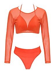 Mujer Secado rápido Suave Casual Malla Tela de seda Traje de buceo Manga Larga Bañadores-Natación Playa Verano Cuadrícula / Plaid