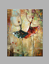 IARTS® Hand Painted Modern Abstract Two Ballerina Duet Dancing Together Oil Painting On Canvas with Stretched Frame Wall Art For Home Decoration