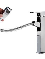 levne -kouzlo Na běžné nošení Elegantní & moderní Baterie na střed Keramický ventil Single Handle jeden otvor Pochromovaný, Koupelna Umyvadlová