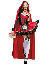 cheap -Little Red Riding Hood Cosplay Costume Masquerade Female Halloween Carnival Festival / Holiday Halloween Costumes Red Others Vintage
