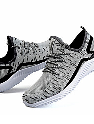 Running Shoes Men's Athletic Shoes Comfort Light Soles Fabric Tulle Fall Winter Athletic Casual Outdoor  Lace-up Low HeelBlack/Red Black/White