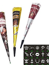 3X Henna Cones Red Brown Black Color Temporary Tattoo  18 Stencils 6*6cm Temporary Tatoo Kits Body Art Mehandi Ink For Body Paint
