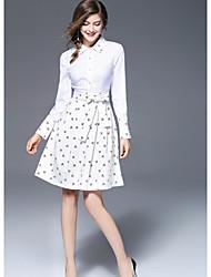 FRMZ  Women's Going out Cute A Line DressPrint Shirt Collar Knee-length Long Sleeves Polyester Fall Mid Rise Micro-elastic Medium
