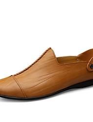 preiswerte -Herrn Schuhe Leder Sommer Herbst Komfort Loafers & Slip-Ons Walking Kombination Geflochtene Riemchen für Normal Schwarz Dunkel Braun