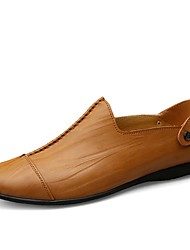 preiswerte -Herrn Schuhe Leder Sommer / Herbst Komfort Loafers & Slip-Ons Walking Schwarz / Dunkel Braun / Hellbraun