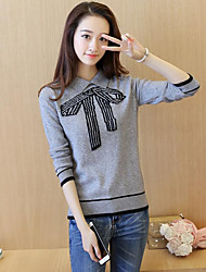 Women's Casual/Daily Short Pullover,Print Round Neck Long Sleeves Others Fall Winter Thick Micro-elastic