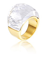 Kalen Stainless Steel Wedding Rings For Women Men Peru Gold Metal Rings With Big White Glass Unisex Finger Rings Party Engagement