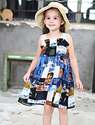 cheap -Girl's Floral Print Dress,Cotton Summer Sleeveless Floral Cartoon Blue