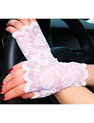 cheap -Women's Lace Wrist Length Fingerless Gloves - Solid Colored