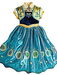Princesse Conte de Fée Cosplay Fille Halloween Carnaval Le Jour des enfants Fête / Célébration Déguisement d'Halloween Jaune + bleu. Rétro