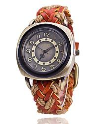 baratos -Mulheres Relógio de Moda Relógio de Pulso Único Criativo relógio Chinês Quartzo Couro Banda Vintage Boêmio Preta Branco Vermelho Laranja