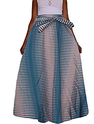 Women's Going out Casual/Daily Holiday Maxi SkirtsSexy Vintage Boho Swing Sexy Striped Spring Fall Pleated Loose All Match