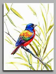 economico -Dipinta a mano Animali Verticale,Artistico Stile naturalistico Rustico Compleanno Natale Capodanno Un Pannello Tela Hang-Dipinto ad olio