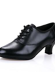 cheap -Women's Modern Canvas Cowhide Sandal Professional Cuban Heel Black