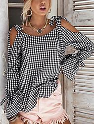 abordables -Tee-shirt Femme,Tartan Sexy Noir & blanc Shopping Rendez-vous Décontracté / Quotidien Sexy simple Chic de Rue Printemps AutomneManches
