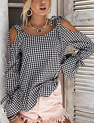 Feminino Camiseta Compras Encontro Casual Sensual Simples Moda de Rua Primavera Outono,Xadrez Sexy Preto e Branco Poliéster Decote Redondo