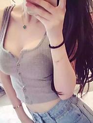 cheap -Women's Daily Club Casual Sexy Summer Tank Top,Solid Deep U Sleeveless Cotton Medium