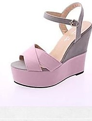cheap -Women's Shoes PU Summer Slingback Sandals Wedge Heel Round Toe for Casual Beige Yellow Pink