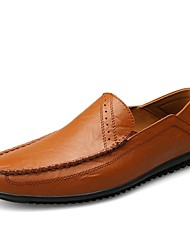 cheap -Men's Cowhide Summer / Fall Comfort Loafers & Slip-Ons Walking Shoes Black / Brown