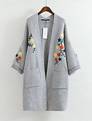 Women's Going out Casual/Daily Cute Boho Street chic Fall Winter Coat,Solid V Neck ¾ Sleeve Long Lamb Fur Embroidered