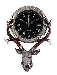 abordables -Moderno/Contemporáneo Tradicional Campestre Casual Retro Animal Reloj de pared,Elk Animal Resina Interior Reloj