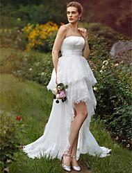 Salón Sin Tirantes Asimétrica Encaje Organza Vestido de novia con Apliques Cinta / Lazo En Cortina A Capas por LAN TING BRIDE®