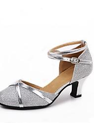 preiswerte -Damen Schuhe für modern Dance Glanz Absätze Farbaufsatz Maßgefertigter Absatz Maßfertigung Tanzschuhe Silber / Silber / schwarz / Schwarz