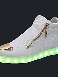cheap -Women's Shoes PU Spring Fall Comfort Sneakers Flat Heel Round Toe Zipper LED For Casual White Black