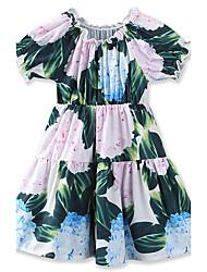 Girl's fashion Floral Print Dress Cotton Summer Short sleeve Baby skirt