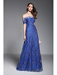 cheap -A-Line Off-the-shoulder Floor Length Tulle Formal Evening Dress with Embroidery by YIYIAI