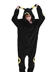 Kigurumi Pajamas Cartoon Festival/Holiday Animal Sleepwear Halloween Black Fashion Solid Color Embroidered Flannel Fabric Cosplay