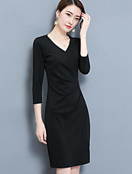 Women's Work Sheath Dress,Solid V Neck Above Knee Long Sleeves Polyester Fall Mid Rise Micro-elastic Thin