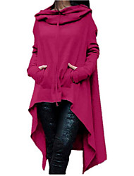 Women's Casual/Daily Simple Hoodie Solid Hooded Inelastic Cotton Long Sleeve Fall