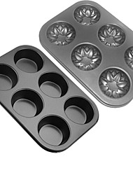 2 PCSRound Carbon steel bakeware cake mold 6 lattices Muffin cupcake molds Soap molds non-stick Easy to clean L30