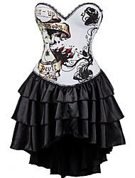 economico -Per donna Gancetti Vestiti con corsetto, Medio spessore Poliestere Bianco