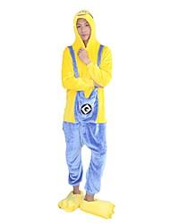 Недорогие -Взрослые Пижамы кигуруми Мультфильмы Мини-желтые мужчины Цельные пижамы Фланель Желтый Косплей Для Муж. и жен. Нижнее и ночное белье животных Мультфильм Фестиваль / праздник костюмы