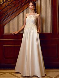 economico -Linea-A Scollo a Illusione Lungo Raso Vestito da sposa con Perline Con applique Con Piume / in pelliccia Tasche di LAN TING BRIDE®