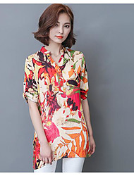 cheap -Women's Daily Casual Blouse,Print Stand Short Sleeves Polyester