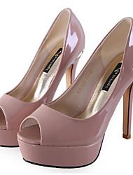 baratos -Feminino Sapatos Couro Envernizado Primavera Outono Conforto Saltos Para Casual Preto Bege Amêndoa