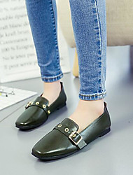 Women's Shoes Real Leather PU Spring Comfort Loafers & Slip-Ons For Casual Black Green