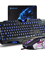 MK80 3 Color LED Backlit Wired Gaming keyboard and mouse combo with Game MousePad