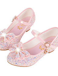 cheap -Girls' Shoes Synthetic Microfiber PU Fall Winter Flower Girl Shoes Novelty Comfort Flats Sequin Buckle for Casual Dress White Blue Pink
