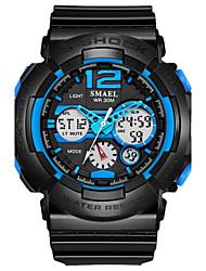 Недорогие -SMAEL Муж. Спортивные часы Наручные часы Цифровой Стеганная ПУ кожа Черный 50 m Горячая распродажа Аналого-цифровые Кулоны Мода - Черный / зеленый Черный / Синий Черный / серый